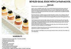 Deviled Quail Eggs with Caviar Mujjol  www.mujjolcaviar.com
