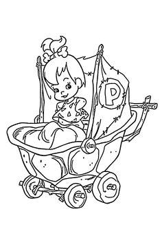Pebbles coloring pages for kids, printable free - Flintstones