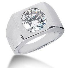 4.0 Ct Men Diamond Ring Wedding Band Round Cut Bezel 14k White Gold, via mens rings