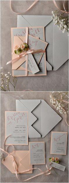 Rustic Vintage Grey Peach Wedding Invitation