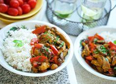 Kip in currysaus met groentes | Kookmutsjes Tasty, Yummy Food, Ratatouille, Chana Masala, Nutella, Macaroni, Raspberry, Curry, Sweets