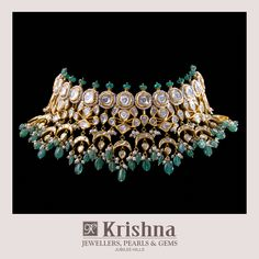 Fabulous Polki choker necklace crafted in Uncut diamonds,Emeralds,Pearls in kundan setting gives the Royal Feminine quintessence. For inquiries, contact us on our WhatsApp Jewelry Design Earrings, Emerald Jewelry, Necklace Designs, Trendy Jewelry, Fashion Jewelry, Schmuck Design, Wedding Jewelry, Jaipur, India Jewelry
