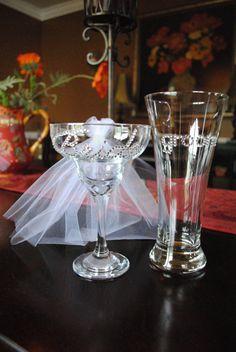 Bride and Groom Wedding Glass setBride Margarita by GlassyLove, $34.00
