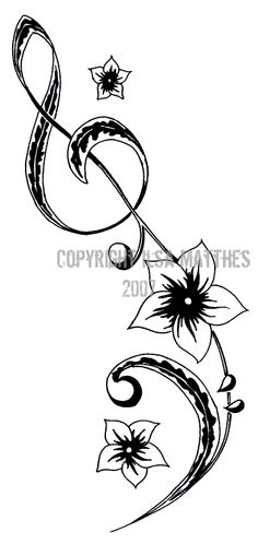 Music Tattoo,perhaps a different type of flower or music notes Trendy Tattoos, Cool Tattoos, Tattoo Pics, Piercing Tattoo, Piercings, Treble Clef Tattoo, Cello Tattoo, Music Flower, Music Tattoos