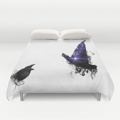 Items similar to Crow and Wicht Duvet Cover Personalized - Full, Queen, King - Gift for her Him Bedding Bed Decor Modern Apartment, White Duvet, Magic Duvet on Etsy White Duvet, Crow, Modern Decor, Bed Pillows, Duvet Covers, Pillow Cases, Gifts For Her, Bedrooms, Etsy Shop