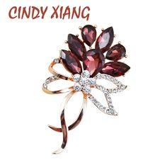 CINDY XIANG Austria Crystal Flower Brooches for Women Rhinestone Wedding Pin Brooch Elegant High Grade Fashion Jewelry 3 Colors #Affiliate