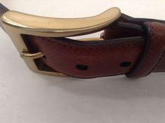 Trafalgar Mens Brown Leather Belt Size 34/85 Brass Buckle Made In Italy #Trafalgar