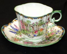 AYNSLEY TEXTURE PINK ROSES GARDEN GATE TEA CUP AND SAUCER