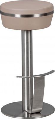 Wohnling WOHNLING Durable M9 Barhocker Aus Edelstahl Mit  Kunstleder Sitzfläche In Taupe Design Tresenhocker Standfest