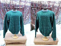a41a25d9718f 1990 s L.L. Bean Men s 100% Pure Wool fisherman s Dark Green Pullover  Sweater Celtic Aran Large Knitted Winter Classic Tweedy Bulky Jumper