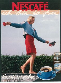 Two cups of this and she's back out on the edge of the roof. (Funny bad retro coffee ads)