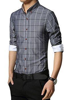 (シーファニー)Cfanny メンズ ワイシャツ 長袖 チェック柄 お洒落 ボタンダウン フィット ビジネス カジ… …