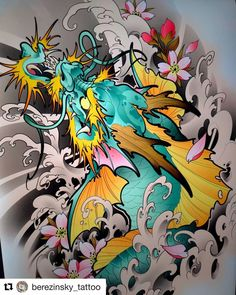 Pure flow and energy! So great to get lost, expanding the… Koi Dragon Tattoo, Japanese Dragon Tattoos, Japanese Tattoo Art, Japanese Tattoo Designs, Dragon Tattoo Designs, Chinese Tattoos, Asia Tattoo, Neo Tattoo, Japan Tattoo