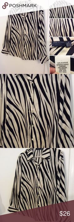 Anne Klein Silk Button Down Zebra Print Shirt This Anne Klein shirt is in excellent new like condition. It has a beautiful zebra print to it it's a size 10 and is 100% silk Anne Klein Tops Button Down Shirts
