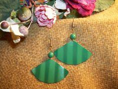 Enamel Earrings Mod Kelly Green Pleated Fan Dangle Earrings 1970's Festive…