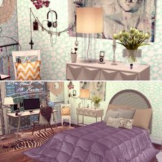 The Sims 4 Apartment Speedbuild Feminine Bedroom, The Sims4, Apartment Furniture, Sims 4 Custom Content, Sims Cc, Loft, San, Decor, Female Bedroom