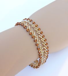 Beadweaving bracelet, beaded bracelet, seed beads bracelet, St. Petersburg weaving bracelet, Russian weaving seed beads  bracelet. $20.00, via Etsy.
