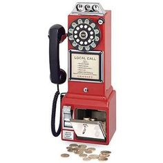 Crosley 1950's Pay Phone - Red-reproduction