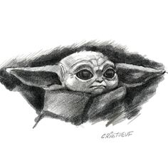 Charcoal illustration of Baby Yoda from The Mandalorian ( Stars Wars ) Yoda Drawing, Spiderman Drawing, Monster Drawing, Baby Drawing, Sketch Drawing, Cartoon Faces, Girl Cartoon, Cartoon Drawings, Realistic Cartoons