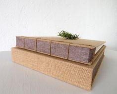 naranja & madera encuadernación artesanal: lino, saco y cuerda