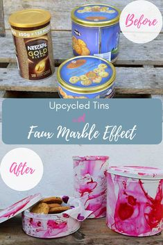 Upcycle tins with a faux marble effect to create some gorgeous Christmas cookie tins. They are like a gift in themselves. Recycled Gifts, Upcycled Crafts, Handmade Crafts, Diy Crafts, Repurposed, Nescafe Gold Blend, Tin Can Crafts, Marble Effect, Diy Box