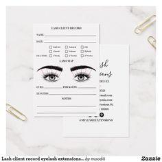 Shop Lash client record eyelash extensions modern white created by moodii. Lash Extension Kit, Eyelash Extension Training, Eyelash Extension Supplies, Eyelash Studio, Lash Lounge, Eyelash Technician, Eyelash Extensions Styles, Lash Room, Nails Only