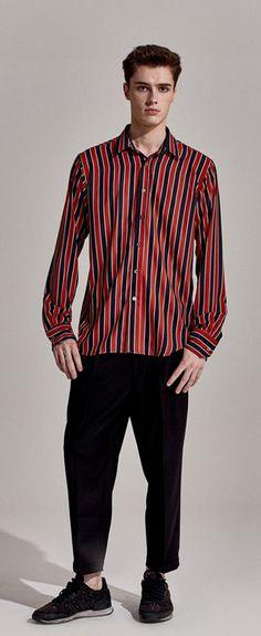 샤이니(Shinee) 종현 착용 레트로 무드의 배색 스트라이프 셔츠 untage UTS-FS03 retro stripe shirts_red(UNISEX)