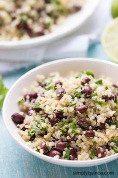 Cilantro-Lime Black Bean Quinoa Salad - only 5 ingredients, gluten-free + vegan too!