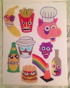 "Cartoon Food Cut Paper Jam 11""x14"" No. 1 on Etsy, $20.00"