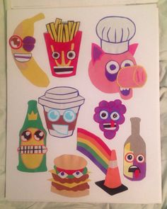 "Cartoon Food Cut Paper Jam 11""x14"" No. 1 on Etsy, $20.00"