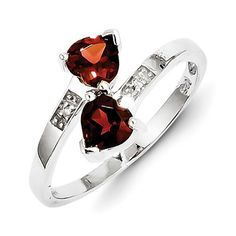 Sterling Silver Genuine Heart Garnet & Diamond 2 Stone Ring
