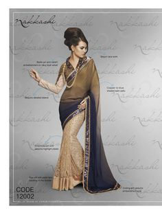 Nakkashi Exclusive bluish golden Coloured Fancy Designer Saree