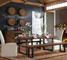 Love the look of this rustic/transitional dining room.  The Wine Barrel Wall-Mounted Drink Dispenser is so cool!
