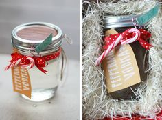 Peppermint Vodka in a mason jar Jam Packaging, Pretty Packaging, Packaging Ideas, Peppermint Vodka, Christmas Holidays, Christmas Ideas, Xmas, Jar Gifts, Holiday Crafts