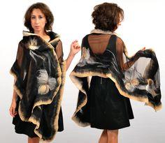 Sciarpe in seta - Abiti di seta scialle nero e beige, matrimonio - un prodotto unico di alejasztuki su DaWanda