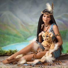 Native American-with-Cougar-by-Cindy-McClureAshton-Drake-2005.jpg