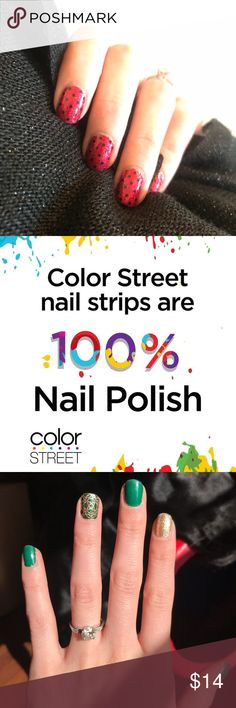 Color Street Nails 100% Real Nail Polish with no dry time! Prices range from $11-14.  Visit my Facebook page for details: Jen Kingman's VIP Color Street Color Street Makeup