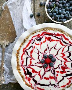 Red, white and blueberry ice cream pie #recipe!