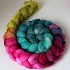 Handpainted Polwarth Wool Top  Wool Roving  by SpunRightRound