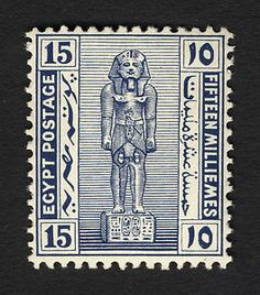 15m Statue of Ramses II single, 1921. Egyptian stamp