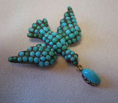 Georgian Dove  Brooch /Pendant , 15 CT.,  Sterling  & Pave' Set Turquoise