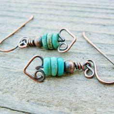 Turqoise and Antiqued Copper Bear Hug Dangles earrings. $14.00, via Etsy.