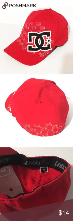 Red DC Flex-Fit Wool Blend Cap The DC Flex Fit cap is a men's hat that features the iconic DC logo embroidered on the front. Made from 83% acrylic 15% wool 2% Spandex. Like new.   *15% off bundles *No trades *Feel free to make an offer *Thank you DC Accessories Hats