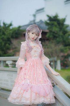 IchigoMikou ~Drizzle & Thin Clouds~ Qi Lolita JSK (Fish scales lower hem) This is so beautiful! Harajuku Fashion, Kawaii Fashion, Cute Fashion, Asian Fashion, Rock Fashion, Fashion Boots, Estilo Lolita, Doll Style, Moda Lolita