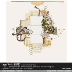Layer Works No. 795 layered scrapbook page sketch in PSD and PNG files for easy digital scrapbooking #designerdigitals