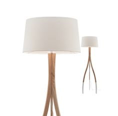 Carmen Floor Lamp Natural Timber with White Feet & Shade Mercator A34421, $295.00