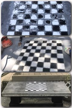 Concrete coffee table with tile chessboard inlay. Colored the first bag of cement, but not the rest which explains the 'dripping' look on the sides. Intended to be outside all year at our campsite.