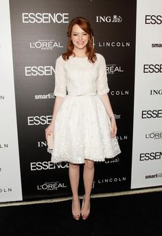 """Emma Stone in ELIE SAAB Haute Couture Spring 2012 to the 5th annual Essence """"Black Women in Hollywood"""" luncheon."""