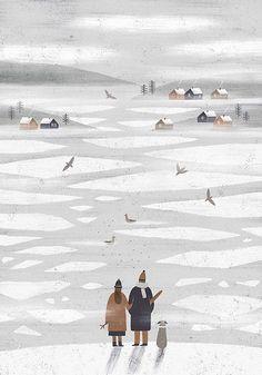 n a s t i a s l e p t s o v a illustration iceland christmas snow winter colour design drawing collage Art And Illustration, Illustrations And Posters, Christmas Illustration Design, Art Graphique, Illustrators, Book Art, Artwork, Art Drawings, Iceland Christmas