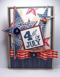 4th of July Card! CTMH stamp sets, July Word Puzzle(retired) for the sentiment; D1320 Shining Star for the 2 large stars that are matted; D1333 Wishing Star and D1237 Starstruck to make the background paper. The woodgrain paper is from the CTMH X7110B Back Country paper pack. @CTMH